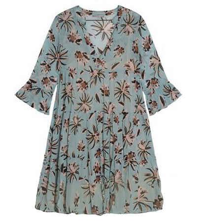 NILE Blusenkleid »NILE Druck-Kleid gemustertes Damen 3/4-Arm-Kleid mit Trompetenärmel Sommer-Kleid Blau«