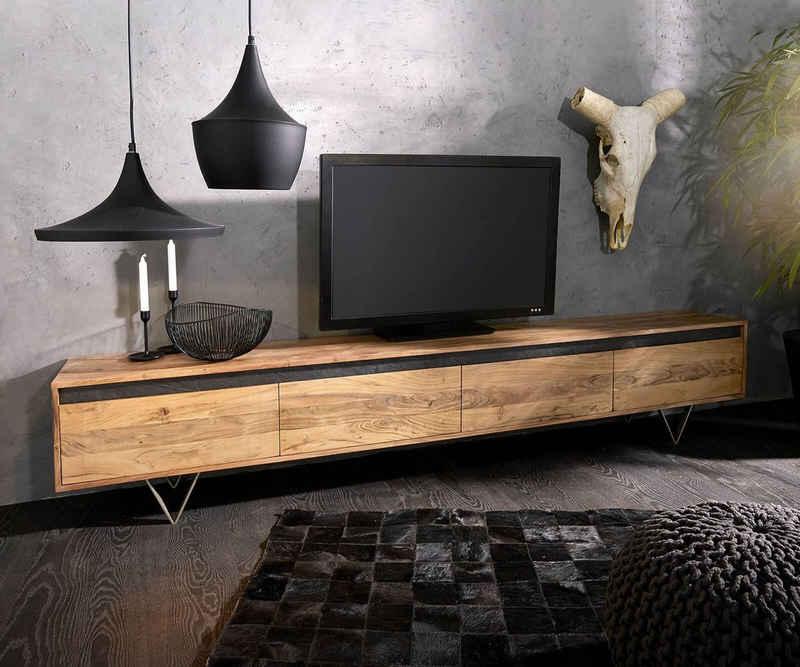 DELIFE TV-Board »Stonegrace«, Akazie Natur Schiefer 240 cm 4 Türen Design Lowboard