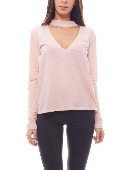 NA-KD Sweater »NA-KD Cut-Out Sweater locker fallender Damen Pulli mit Choker Freizeit-Pulli Rosa«