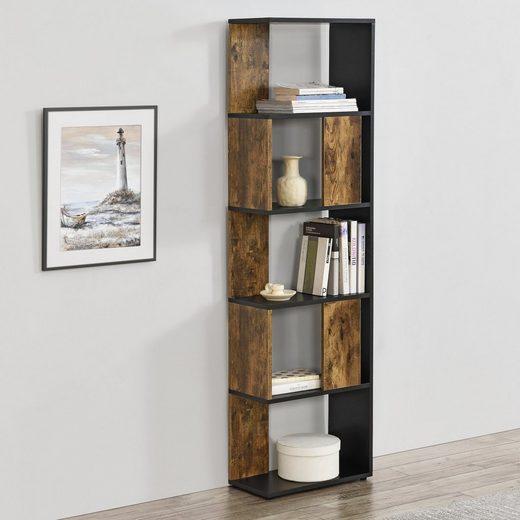 en.casa Bücherregal, »Aneby« Standregal Mehrzweckregal mit 5 Ablageflächen 159x45x24cm Schwarz / Holzfarben