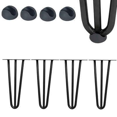 Mucola Tischbein »Tischbeine 4er-Set Hairpin Leg Haarnadelbeine Schwarz Silber Tischgestell Stahl Tisch Tischkufen Legs Esstisch Harpins Tischbein«