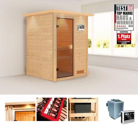 KONIFERA Sauna »Magni«, 172x158x202 cm, 9 kW Bio-Ofen mit ext. Strg., mit Dachkranz