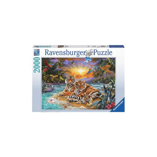 Ravensburger Puzzle 2000 Teile Tigerfamilie im Sonnenunterg
