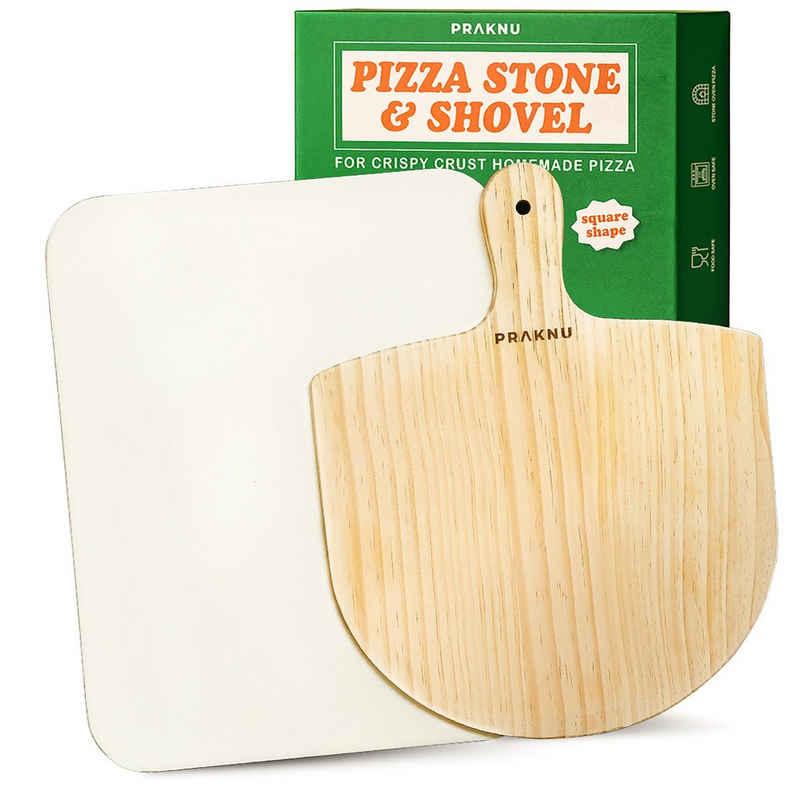 Praknu Pizzastein »Pizzastein Eckig und Pizzaschieber im 2er Set«, Cordierit, (Set, 2-St., Pizzastein und Pizzaschieber Set), Steinplatte Eckig für Ofen und Grill - Pizzaschaufel aus Kiefernholz