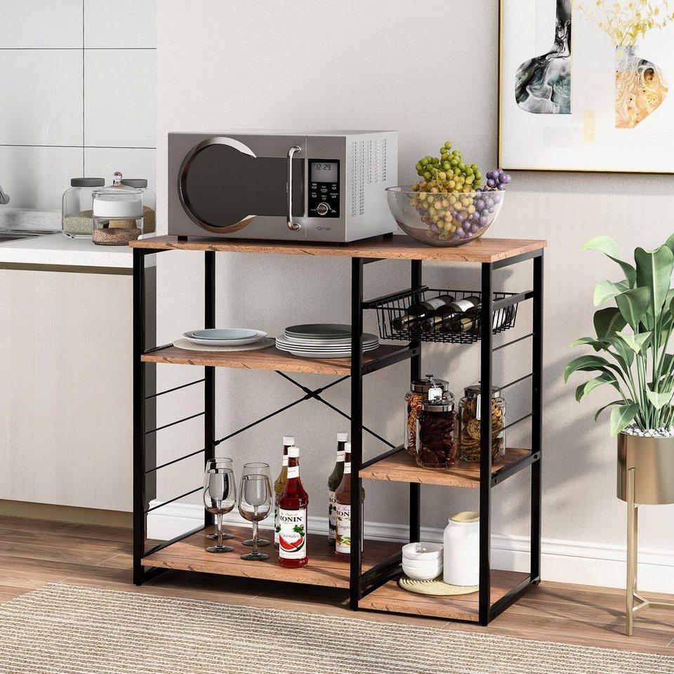 Flieks Küchenregal, Regal mit Weinglashalter für Mikrowellen, 9 stufiger  Tisch für Gewürze und Töpfe, Küche Workstation, braun online kaufen   OTTO