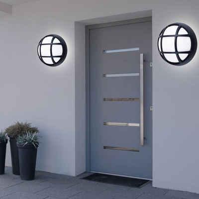 etc-shop LED Außen-Wandleuchte, 2er Set Design LED Außen Wand Spot Strahler Balkon Leuchte Grundstück Lampe rund schwarz