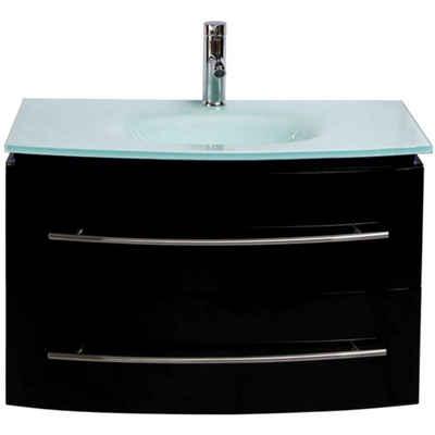 Midori Waschtisch (1-St), Badmöbel Set Waschbecken Badezimmer Badschrank Hochglänzend Spiegel LED Schwarz