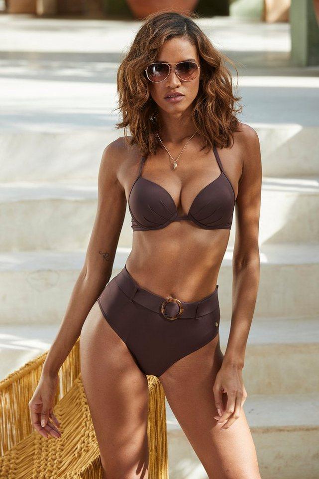 Bademode - s.Oliver Beachwear Highwaist Bikini Hose »Rome«, mit abnehmbarem Gürtel › braun  - Onlineshop OTTO