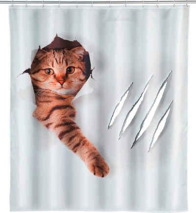 WENKO Duschvorhang »Cute Cat« Breite 180 cm, Höhe 200 cm, Polyester, waschbar