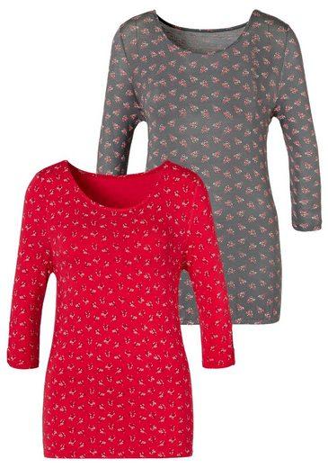 LASCANA T-Shirt (2er-Pack) mit kleinem Cut-Out am Ärmel