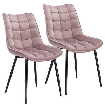 Woltu Esszimmerstuhl »BH142«, Wohnzimmerstuhl Sessel mit Rückenlehne, Sitzfläche aus Samt, Metallbeine