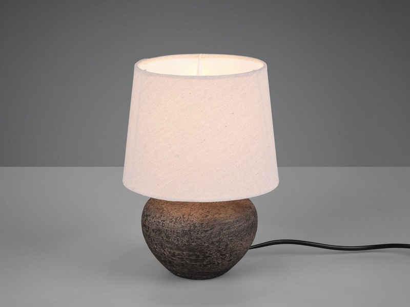 TRIO LED Tischleuchte, kleine Keramik Tisch-Lampe mit Stoff-Lampen-Schirm für Wohnzimmer, Fensterbank, Schlafzimmer, Schreibtisch