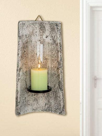 GILDE Kerzenhalter »Keramik Wandziegel Roman Leuchter«, antike Optik