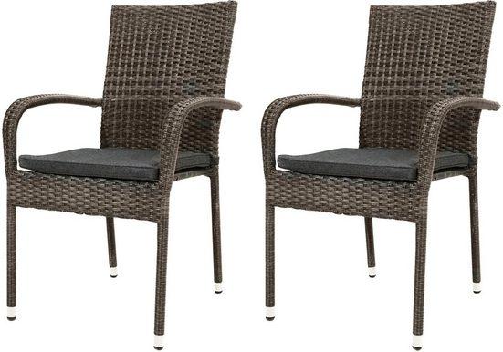 PLOSS Gartenstuhl »Rocking Basic«, (2er Set), inkl. Sitzpolster, stapelbar, Polyrattan/Stahl