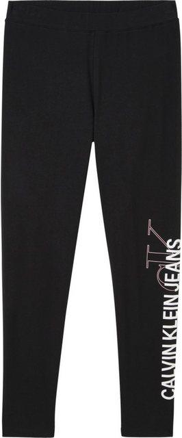 Hosen - Calvin Klein Jeans Leggings »Vertical Institutional Legging« mit großem Calvin Klein Jeans Logo Schriftzug auf dem linken Bein ›  - Onlineshop OTTO