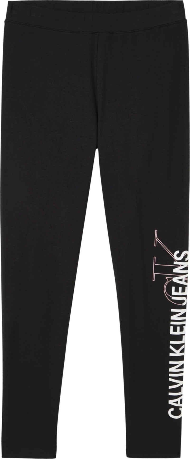 Calvin Klein Jeans Leggings »Vertical Institutional Legging« mit großem Calvin Klein Jeans Logo-Schriftzug auf dem linken Bein