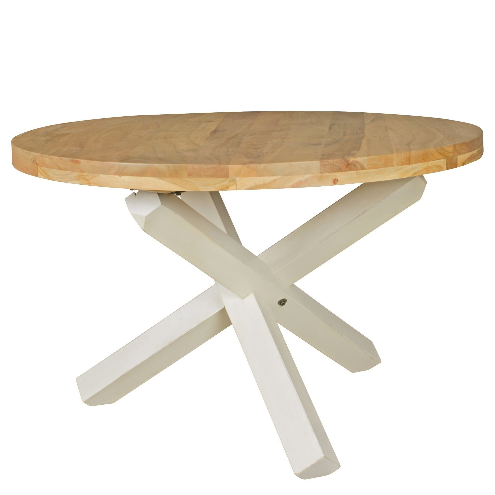 Design Esszimmertisch BOHA rund Ø 120 cm x 75 cm Akazie Massiv Holz   Landhaus Esstisch 4 Personen   Küchentisch Tisch für Esszimmer braun