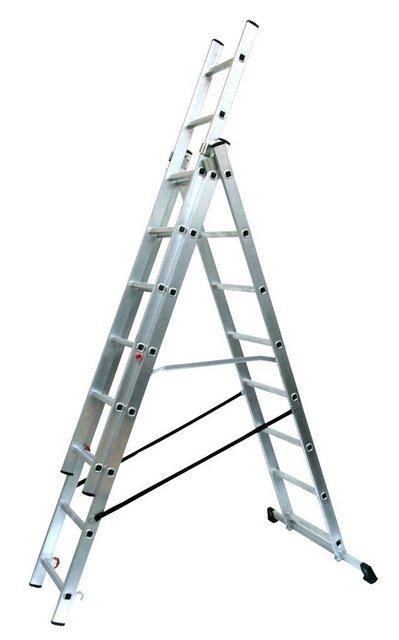 SZ METALL Alu-Schiebeleiter 3 x 8 Sprossen| 217/46/16 cm (H/B/T) | Baumarkt > Leitern und Treppen > Schiebeleiter | SZ METALL