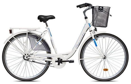 breluxx Cityrad »28 Zoll Damenfahrrad Diana weiß, Rücktrittbremse, Citybike mit Korb + Beleuchtung«, 3 Gang Shimano Nexus Schaltwerk, Nabenschaltung