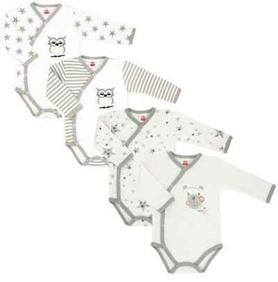 Makoma Langarmbody »Baby Body Wickelbody für Jungen & Mädchen Teddy & Eule« (Set, 4-tlg) 100% Baumwolle