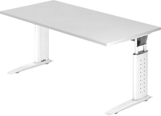 bümö Schreibtisch »OM-US16-W«, höhenverstellbar - Rechteck: 160x80 cm - Gestell: Silber, Dekor: Weiß