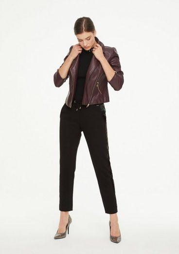 Comma 7/8-Hose »Jogpants mit Fake Leather-Einsatz« (1-tlg) fixiertes Insert