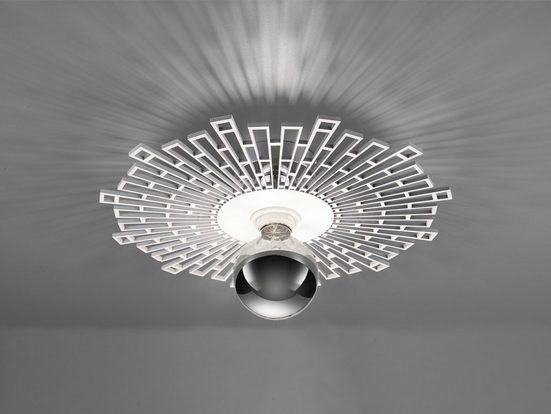 TRIO LED Deckenleuchte, runde Retro Designer Holz-Lampe Vintage flache Wand-Beleuchtung dimmbar Esszimmer Wohnzimmer Schlafzimmer