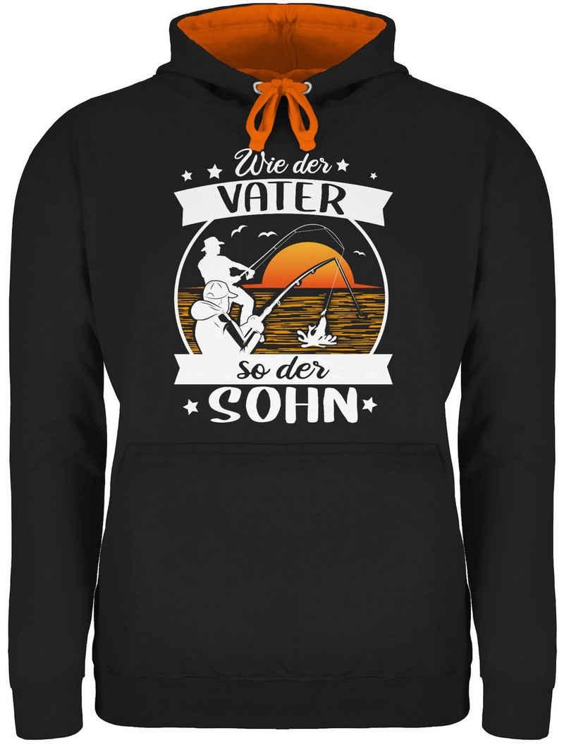 Shirtracer Hoodie »Wie der Vater so der Sohn - Angeln - weiß/orange - Angler Geschenke - Unisex Damen & Herren Kontrast Hoodie« Angeln Zubehör Fischen