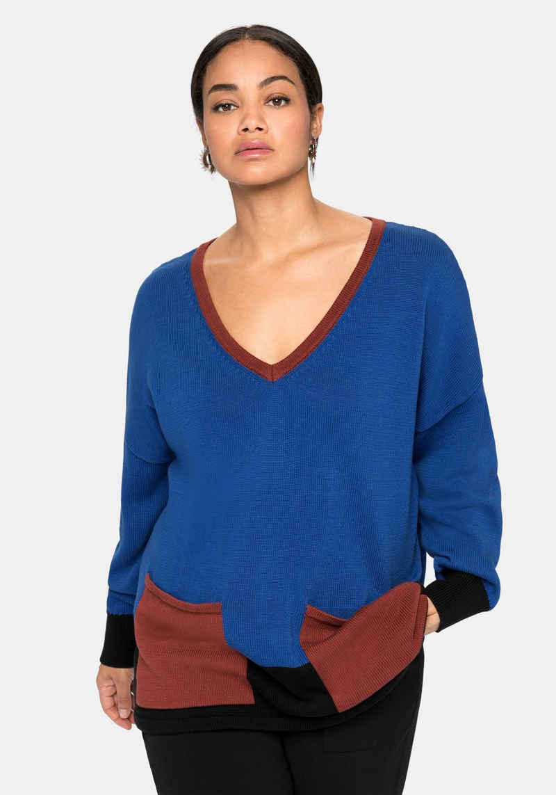 Sheego V-Ausschnitt-Pullover im Colourblocking-Stil