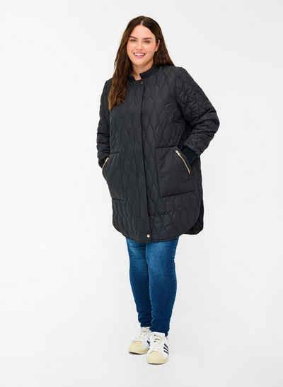 Zizzi Langjacke Große Größen Damen Steppjacke mit Reißverschluss und Taschen
