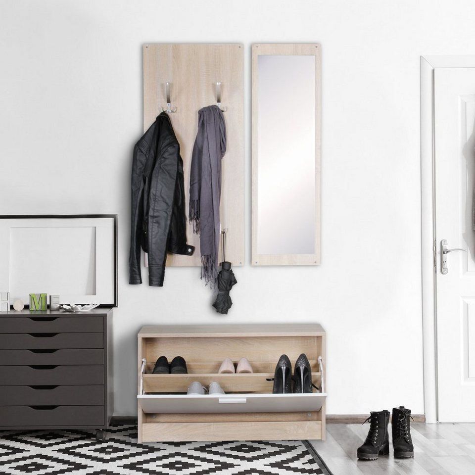wohnling garderoben set wand garderobe jana mit spiegel schuhschrank spanplatte