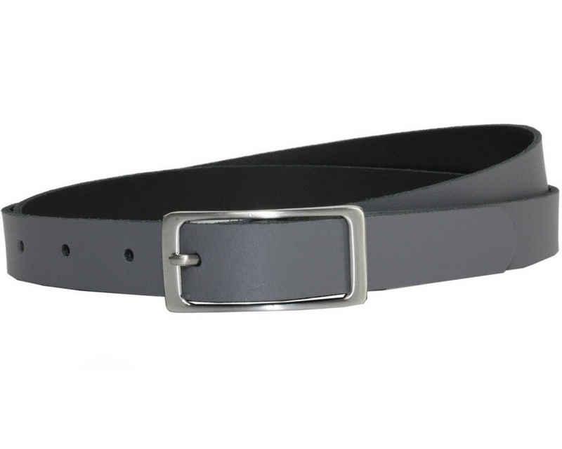 COLOGNEBELT Ledergürtel »A1-SL« Grauer Ledergürtel im klassischen Design, mit silberner eckiger Gürtelschnalle