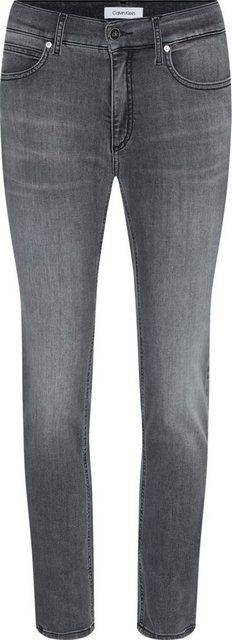 Hosen - Calvin Klein Slim fit Jeans »MID RISE SLIM ANKLE« mit leichten Faded Out Effekten Calvin Klein Logo Badge › grau  - Onlineshop OTTO