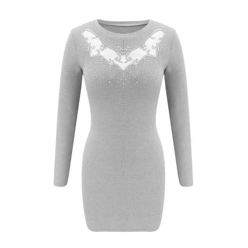 LAPA Strickkleid »Damen Sexy Hollow Hot Strass Enge Langarm Pullover Kleid«