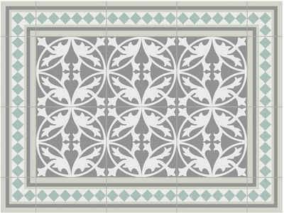 Contento Platzset »Matteo, Fliesen, grün« (Set 4-tlg), für innen und außen geeignet, wasserabweisend