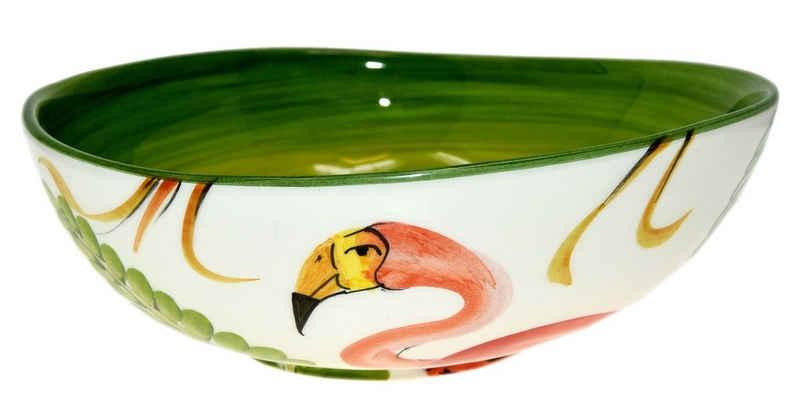 Lashuma Servierschüssel »Flamingo«, Keramik, Salatschüssel rund, Servierschale handgemacht