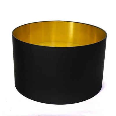 Licht-Erlebnisse Lampenschirm »OPHELIA«, Leuchtenschirm in Schwarz Gold Stoff E27 blendarm Wohnzimmer
