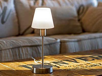 meineWunschleuchte Tischleuchte, Nachttisch-Lampe mit Glas-Lampenschirm und Touch Dimmer für Wohnzimmer, Fensterbank, Schlafzimmer, Jugendzimmer