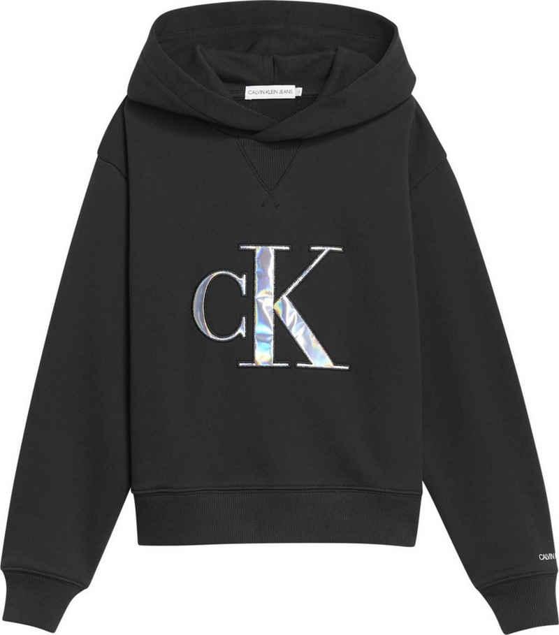 Calvin Klein Jeans Kapuzensweatshirt »MONOGRAM APPLIQUE HOODIE« mit aufwendiger Applikation