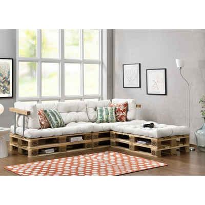 en.casa Palettenkissen, »Tasartico« Palettensofa 3-Sitzer Palettenmöbel inkl. Kissen Lehnen und 6 Paletten weiß