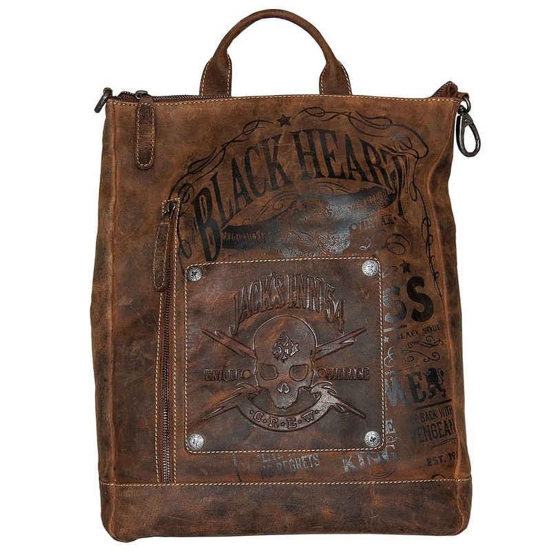 JACK'S INN 54 Cityrucksack »Rob Roy«, aus Leder, als Rucksack oder Umhängetasche tragbar