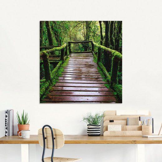 Artland Glasbild »Brückenpfad im Wald«, (1 Stück)