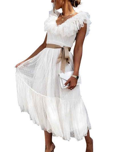 LAPA Strandkleid »LAPA Damen Kleid mit V-Ausschnitt, Polyester, mit gewebtem Gürtel«