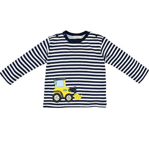 "BONDI Langarmshirt »Baby Jungen Pullover ""Bagger"" geringelt 93650, Blau Natur« (1-tlg)"
