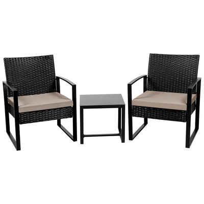 Yaheetech Gartenmöbelset, 3-teilig Polyrattan Sitzgruppe mit Sofa, Tisch Gartengarnitur Balkon-Set Lounge-Set mit Sitzkissen für Garten, Terrasse & Balkon