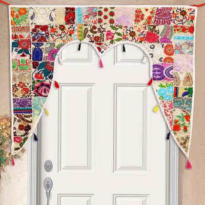 Türvorhang »Indischer Türvorhang Toran 110x100 cm (BxH) Orientalischer Türbehang Patchwork-Design, Vintage Fenstervorhang Boho Ethno Stil«, Casa Moro, (1 Stück), MA6206