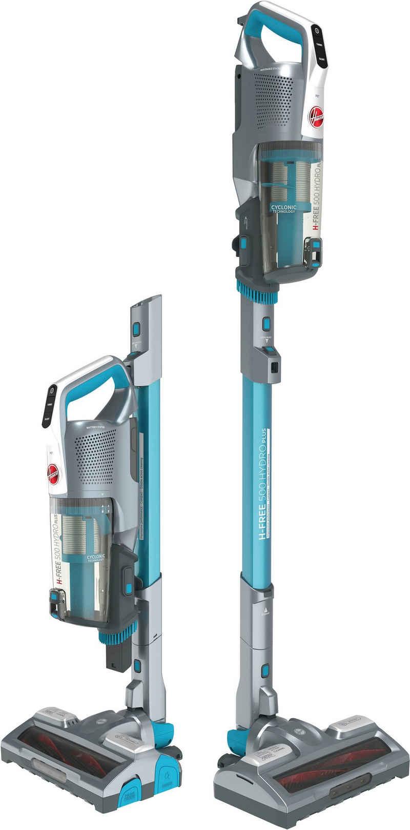 Hoover Akku-Stielstaubsauger H-FREE 500 Hydro, HF522YSP Akku-Staubsauger, 2 in 1, Saugen & Wischen, Laufzeit bis zu 45 Min., beutellos, kompakt, 2,2 Watt, beutellos, Schnellladen