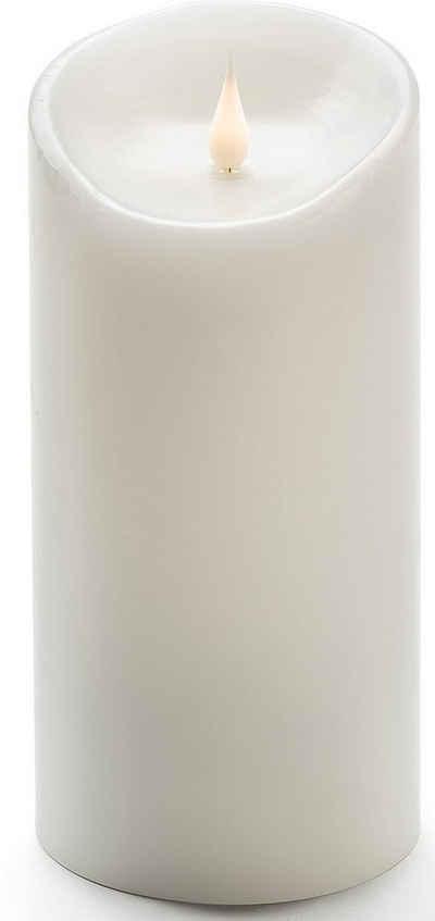 KONSTSMIDE LED-Kerze (1-tlg), LED Echtwachskerze, weiß, mit 3D Flamme, Ø 10 cm, Höhe: 21,5 cm