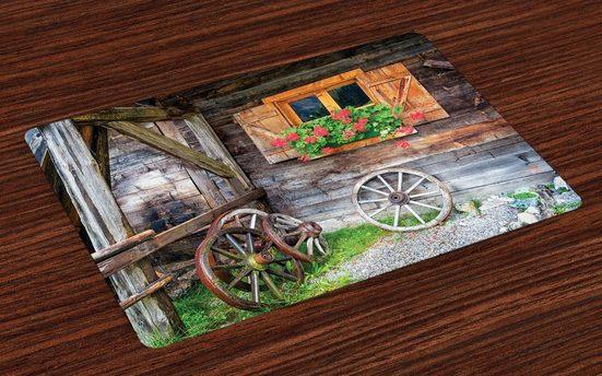 Tischdecke, »Waschbare Stoff Esszimmer Küche Tischdekorations Digitaldruck«, Abakuhaus, (4-teilig, 4 Teilig-St., Set aus 4x), Rustikal Urlaub auf dem Bauernhof Land