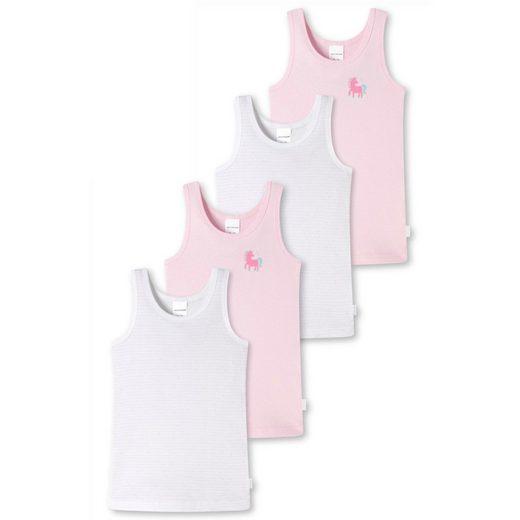 Schiesser Unterhemd »4er Pack Kids Girls Feinripp Organic Cotton« (4 Stück), Unterhemd - Mit tonalem Einfass an Hals und Arm, Herrlich bequeme Feinripp-Qualität, 100% Organic Cotton